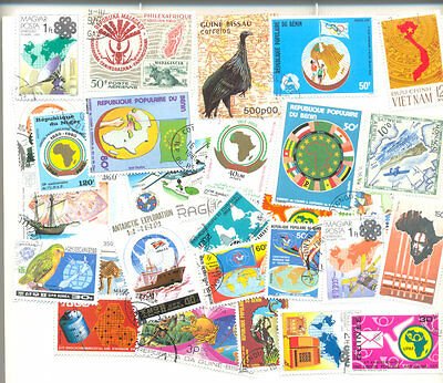 Maps on stamps 300 all different collection-Cartography-Maps