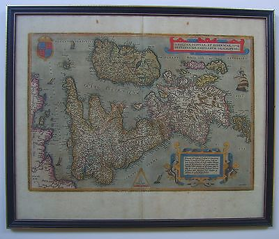 British Isles: antique map by Abraham Ortelius, 1572 and later