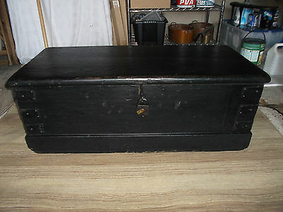 Vintage Stapped Chest Storage Trunk Coffee Table Tool Chest Box