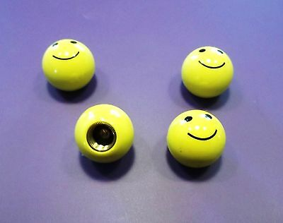 "Lot de 4 bouchons de valves ""Smiley"", auto, moto, vélo"