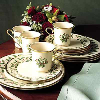 12-Pc Service for 4 Lenox Holly Leaves / Berries Christmas Holiday China Set