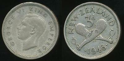 New Zealand, 1946 Threepence, 3d, George VI (Silver) - Fine