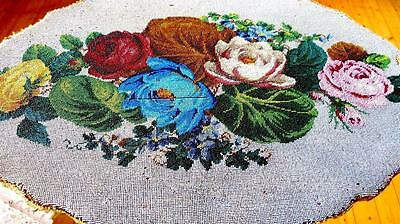 Gorgeous 19Thc Handm Beadwork Embroidery Folding Table Rose Bouquet Biedermeier