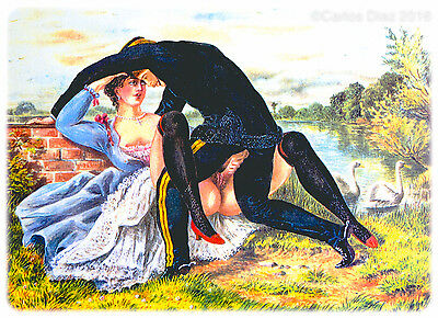 Victorian Erotica Couple Having Sex Juxtaposed With Bucolic Scene Print 29x21cm