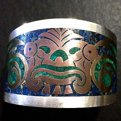 OLD Early TAXCO Sterling Silver Mixed Metals Lapis Stone Inlay Cuff Bracelet Vtg
