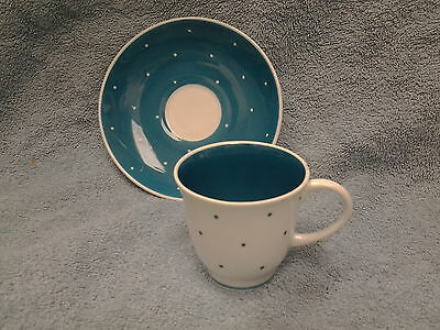 1930, s Susie Copper Coffee Cup and Saucer, Polka Dot Design