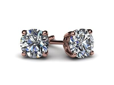 Diamond Solitaire Stud Earrings D Vs2 7.0 Carat Round Enhanced 14Kt Rose Gold