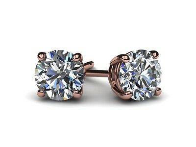 Diamond Solitaire Stud Earrings D Si1 7.0 Carat Round Enhanced 14Kt Rose Gold