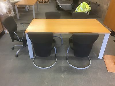 Meeting Table 1800mm Oak with 4 Cantilever Chairs and 1 Exec Chair