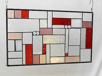 Stained Glass Window Panel, Shades of Red Patchwork Glass Quilt, Glass Transom