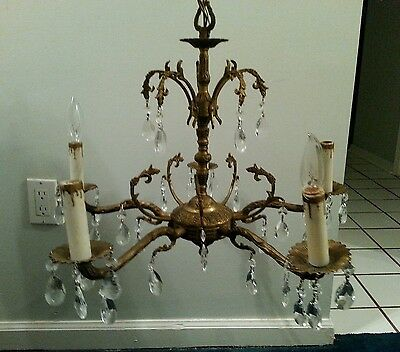 Antique Vintage Chandelier Ornate 5 Light Solid Brass