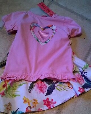 BNWT Me Too designer girl 2-3 years outfit t shirt top skirt pink floral bird