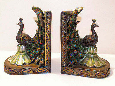 Vintage Book Ends - Peacock - Beautiful