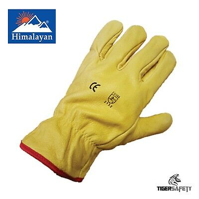 x2 Pairs Himalayan H310 Fleece Lined Leather Winter Thermal Cold Work Gloves PPE