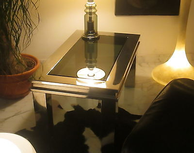 TAVOLO BASSO ANNI '60 vintage French style mcm glass & steel coffee table