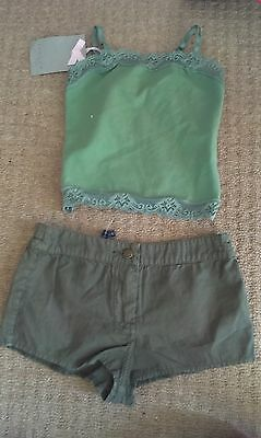 Jigsaw BNWT girl's 3 - 4 / 4 - 5 outfit shorts, vest top, khaki/ green