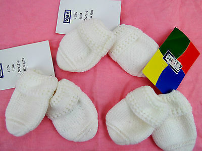 3x Pex Baby Boys Girls Newborn 0-3 Months Designer Knitted White Scratch Mittens