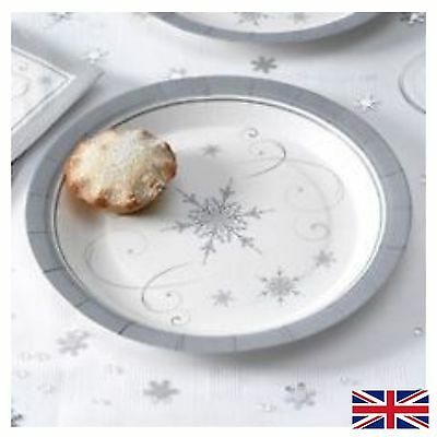8 Shimmering Snowflake Paper Plates Christmas Party Tableware Winter Supplies