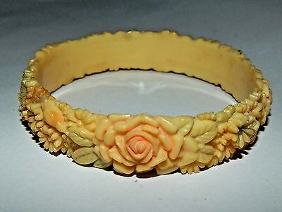 Molded & Tinted Floral Celluloid Bangle Bracelet Roses and Daisies