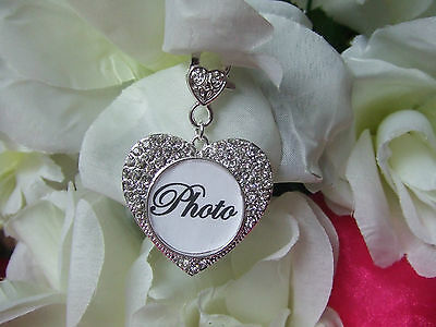 Bride Wedding Bouquet Crystal Memory Frame Charm Photo In Heart