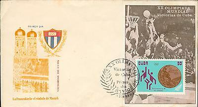 Basketball souvenir sheet FDC olympic Olympia 1972 gp82
