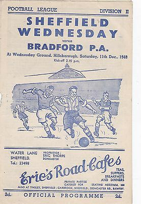 1948/9 Sheffield Wednesday  v Bradford Park Avenue  football programme