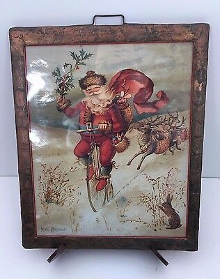 Vintage Victorian Christmas Wall Hanging Print Copper Frame