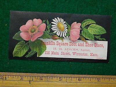 1870s-80s Franklin Square Boot & Shoe Store Pretty Flower Trade Card F17