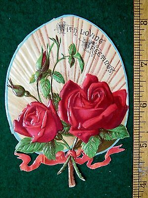 1870s-80s Superb Die Cut Heavily Embossed Valentine Victorian Scrap Roses #3 F31