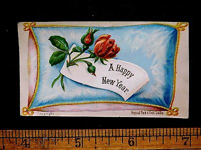 1870s-80s Lovely Raphael Tuck & Sons Embossed Happy New Year Victorian Card F32