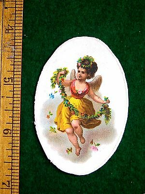 1870s-80s Lovely Winged Angel Flowing Dress Floral String Victorian Die Cut F32