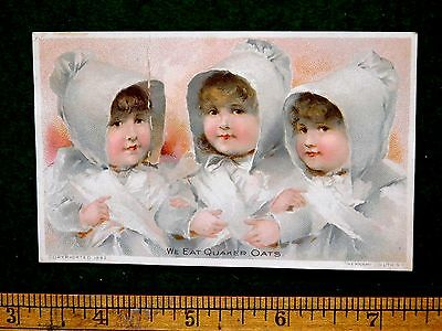 1870s-80s Quaker Oats Cute Three Girls In Bonnets Victorian Trade Card F32