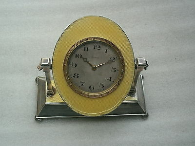 Vintage  Silver & Enamel 8 Day Mantle Clock