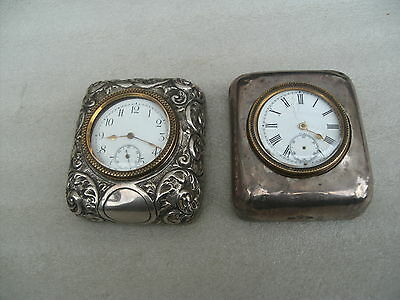 Two Antique Silver Desk Clocks For Repair