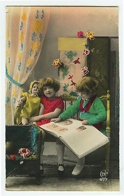 1920's French Deco GIRL w/ DOLL tinted antique photo postcard