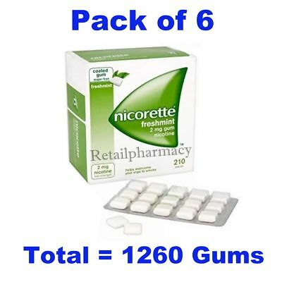 Nicorette Freshmint 2mg Gum 210 Pieces 6 Pack--Long expiry-FAST DISPATCH 03/2022
