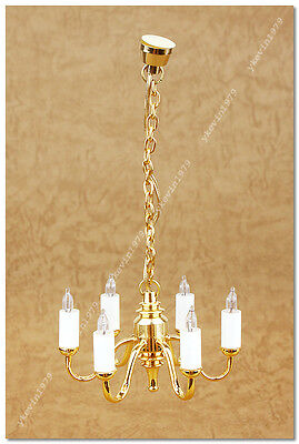 1:12 Scale 12-Volt Miniature Light - 6-Arm Chandelier with Frosted Tulip Shade