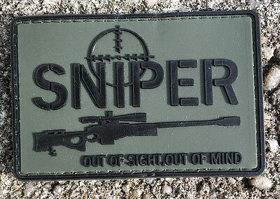 SNIPER OUT OF SIGHT . OUT OF MIND PVC Velcro Fun patch Abzeichen