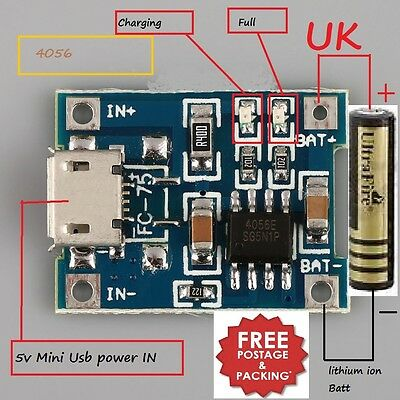 5V Mini USB 1A TP4056 Lithium 18650 Battery Charging Board Charger Module New