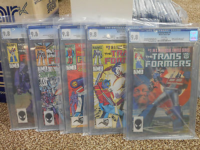 Transformers ALL cgc 9.8 1 2 3 4 5 1st appearance Marvel 1984-85 Spiderman WHITE