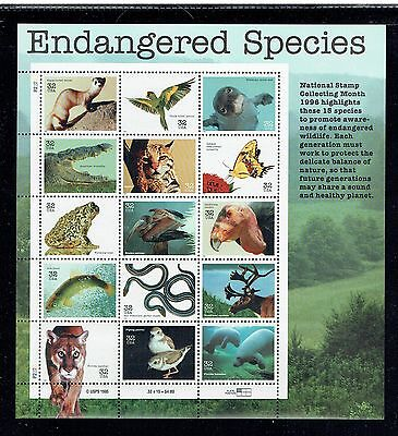 US 3105, 1996 32c ENDANGERED SPECIES, $4.80 SHEET OF 15, MNH  (ID5888)