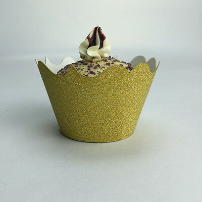 12pcs Gold Silver Glitter Cupcake Wrappers For Baby Shower Wedding Decoration