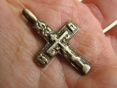 Nice Late Medieval Period  Big (!)  Bronze Cross Pendant #4943