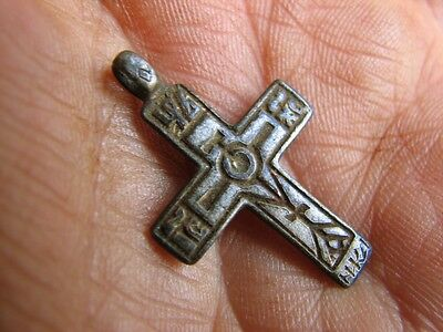 Nice Late Medieval Period  Big (!)  Bronze Cross Pendant #4954