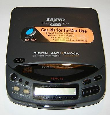 Sanyo portable CD player CDP-65A CDP 65A with power adapter