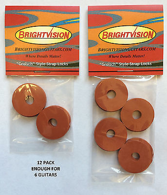 Twelve ORIGINAL Rubber Guitar Strap Locks- Grolsch Style-Classic and Reliable