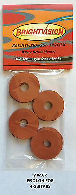 Eight ORIGINAL Rubber Guitar Strap Locks - Grolsch Style - Classic and Reliable