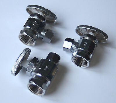 "Lot of Three (3) 1/2"" FNPT TO 3/8 OD TOILET/SINK CHROME PLUMBING Valves made USA"