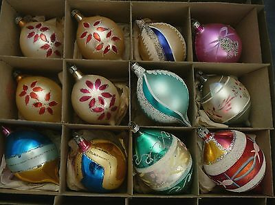 12 Poland Teardrop Indent Glass Christmas Ornaments Patriotic Pink Flowers Mica