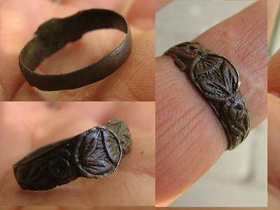 NICE BRONZE MEDIEVAL RING with ORNAMENT  # 4983